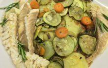 Orata al forno con patate e verdure