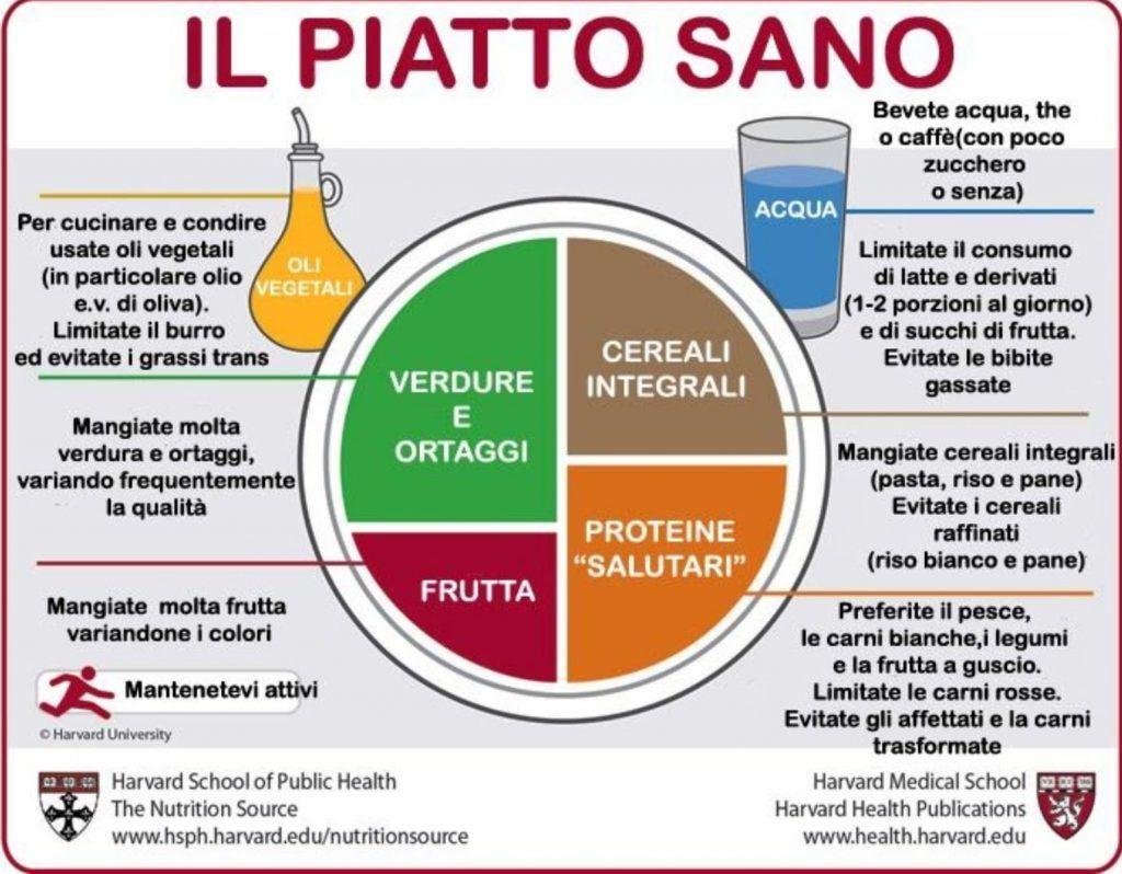Distribuzione degli alimenti nel piatto sano